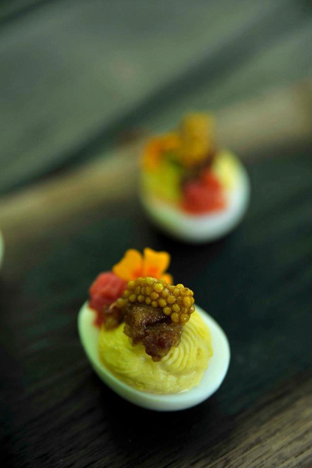 Deviled Eggs, Bacon Jam, Pickled Rhubarb, Mustard Seed Caviar