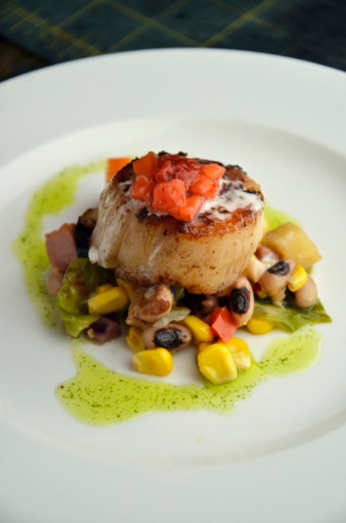 Pepper Crusted Scallop, SPring Succotash, Strawberry Chive Tartare